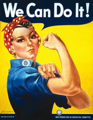'We Can Do It!' Rosie the Riveter was designed circa 1940 by J Howard Miller, as part of a campaign during the second world war to encourage American women to go to work for the war effort. It has since become a symbol for female empowerment