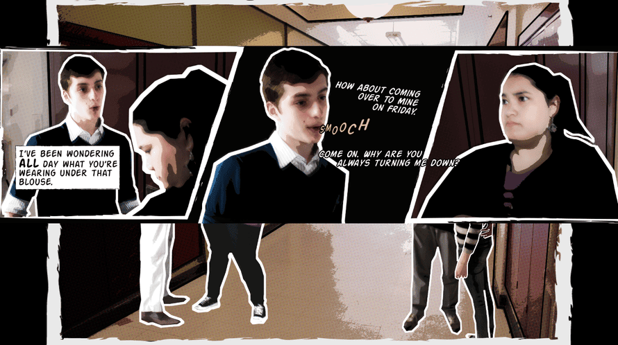 A still from Bystander, a game where teenage players encounter four episodes of harassment and assault.