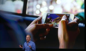 Apple VP Greg Joswiak at today's Apple special event in Cupertino, California. The company announced a new recycling initiative, Apple Renew.