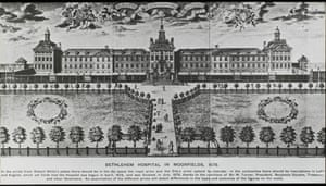 An engraving of Bethlem hospital when it was in London Moorfields.