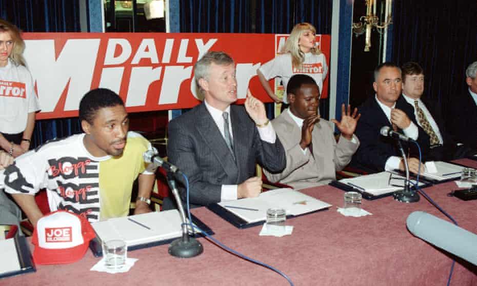 Michael Watson, promoter Barry Hearn and Chris Eubank, May 1991