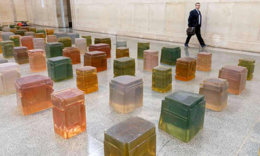 Untitled (One Hundred Spaces), 1995: 100 casts of spaces beneath assorted chairs, 'translucent as Pears soap'.
