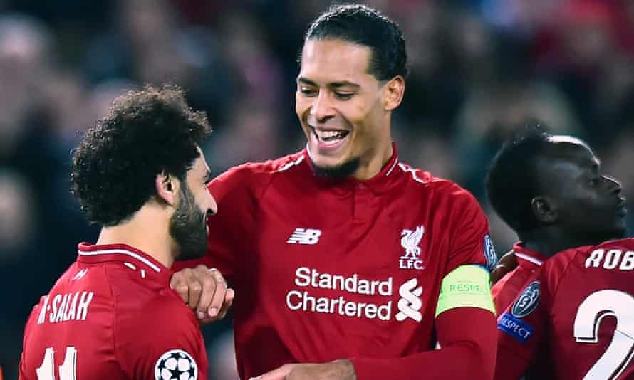 Virgil van Dijk (centre) was named captain of Liverpool against Red Star Belgrade with both Jordan Henderson and James Milner out injured.