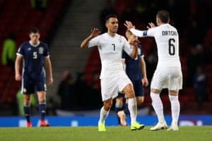 Eran Zahavi pulls a goal back and celebrates with Bibras Natcho.