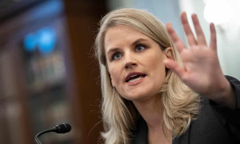 Former Facebook employee Frances Haugen testifies to a Senate Committee