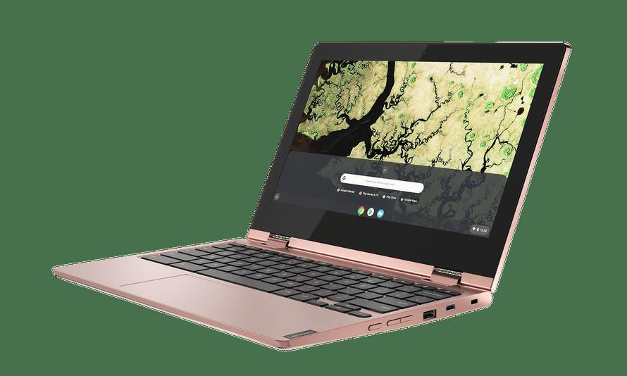 Lenovo's 11in Chromebook C340 in sand pink.