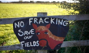 An anti-fracking sign on a fence near the village of Roseacre