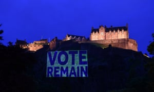 Edinburgh Castle rock is illuminated with a pro-remain sign in the EU referendum campaign.