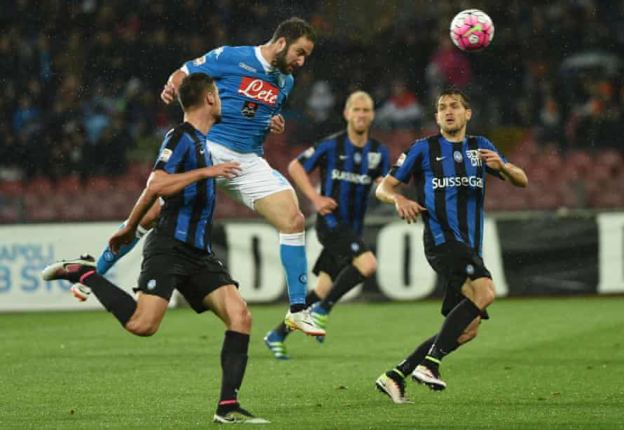 Gonzalo Higuaín scores one of his 36 goals in a prolific 2015-16 season, his last at Napoli.