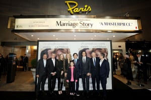 The cast and crew of Marriage Story at the New York premiere at The Paris Theater.