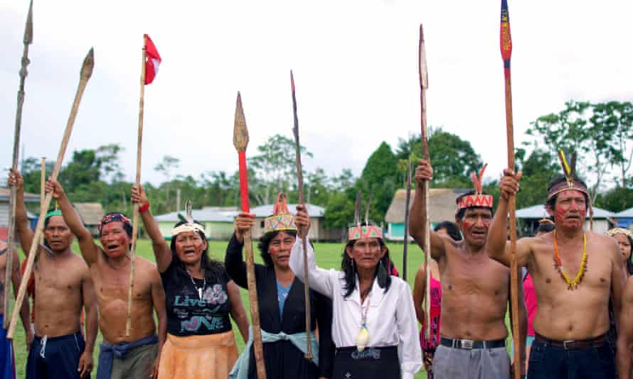 Protestors in the Saramurillo indigenous community in Peru's northern Amazon in October 2016.