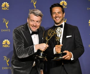 Charlie Brooker and William Briges won for outstanding writing for a limited series, movie or dramatic special, 'Black Mirror, USS Callister'.