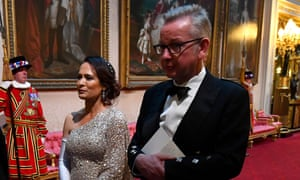 Michael Gove pictured with Stephanie Grisham, Melania Trump's press secretary, during a state banquet on day one of the Donald Trump's state visit to the UK
