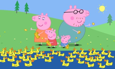 'Someone in the Australian parliament said she was peddling a warped feminist agenda' … Peppa Pig, in the red dress, and family.