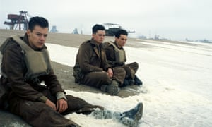 Harry Styles, Aneurin Barnard and Fionn Whitehead in a scene from Christopher Nolan's Dunkirk.