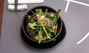 Purple sprouting broccoli with chilli: 'A bowl of vigour and class.'