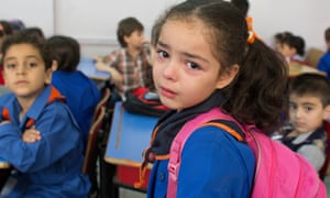 Ghina al-Imam on her first day at school in Damascus