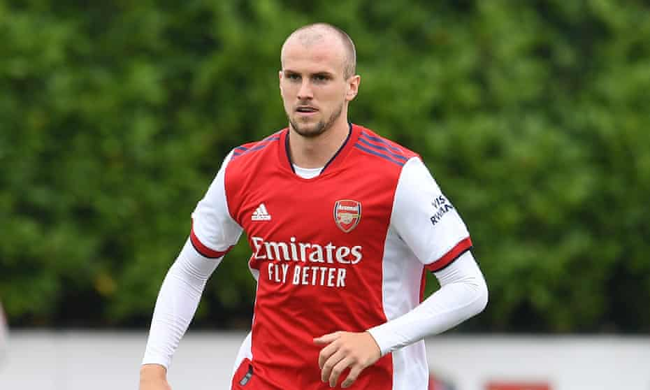 Rob Holding playing in a training-ground friendly for Arsenal against Millwall last Saturday.