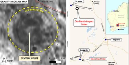The meteorite crater was found near the Goldfields mining town of Ora Banda, north-west of Kalgoorlie-Boulder.