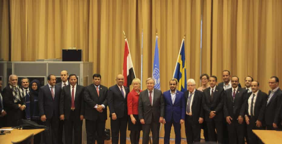 Yemen peace talks in Sweden in 2018, which featured just one woman as part of the delegation.
