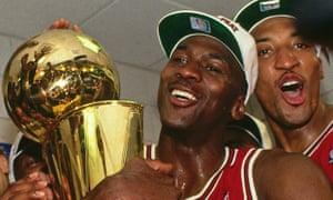 Michael Jordan with the 1993 NBA Championship trophy