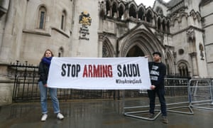 Campaigners outside the high court in London, where the legality of UK arms exports to Saudi Arabia was challenged earlier in 2017.
