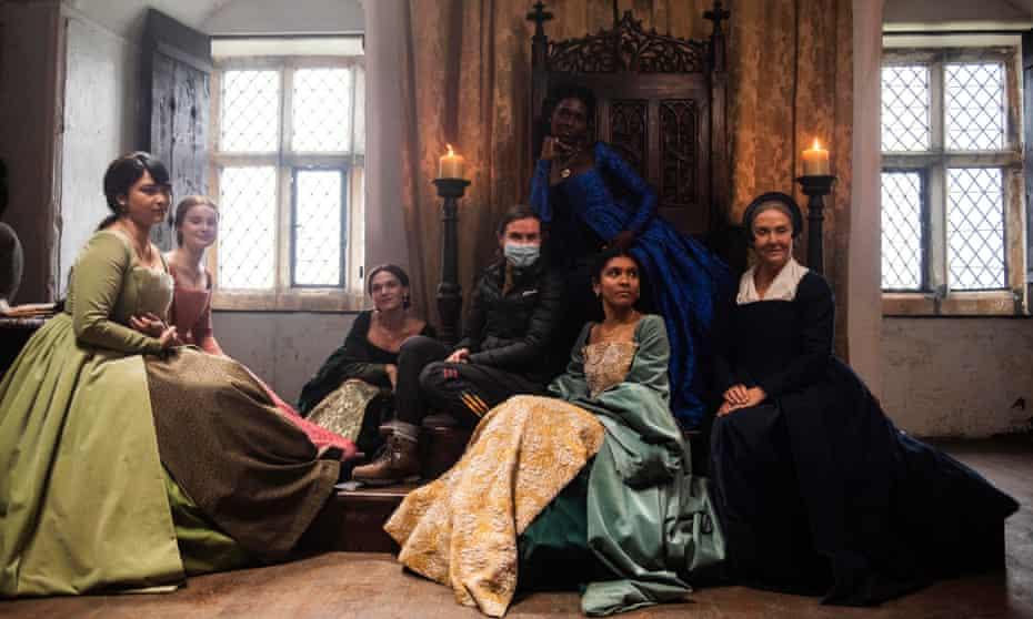 The cast of Anne Boleyn with Anne Boleyn, centre back, played by Jodie Turner-Smith.