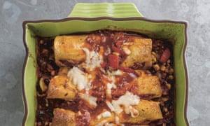 Vegetable Enchiladas with Roasted Tomato Sauce