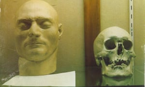 The death mask and skull belonging to notorious bushranger Ned Kelly as seen at the Old Melbourne Gaol in the 1970s.
