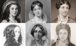 Top: Mary Robinson, Letitia Elizabeth Landon, Harriet Martineau Bottom: Elizabeth Barrett Browning, Sara Coleridge, Anna Seward