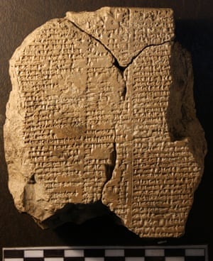 The Gilgamesh tablet. From 1985 professor Andrew George has studied the the cuneiform inscriptions on the clay tablets of Nineveh and produced the most definitive rendering of the 3,700 year old Babylonian Epic of Gilgamesh.