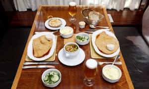 They ate: Karl Ove Käsespätzle with bacon £7.75; wiener schnitzel £25.25; cucumber salad £4.75; mash £4.75. Tim Chicken soup £7.75; wiener schnitzel £25.25; cucumber salad £4.75; mash £4.75. They drank: Karl Ove Glass of lager £4.50; coffee £4.75. Tim Glass of lager £4.50; espresso £4. Shared Still water £1.75.Fischer's, 50 Marylebone High Street, London W1; 020 7466 5501