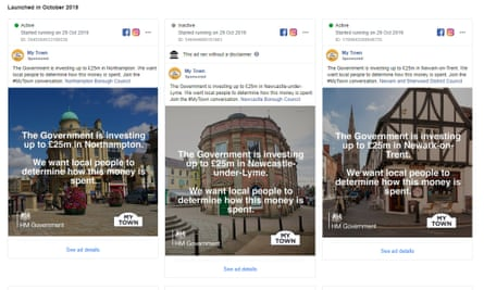 A Facebook political advert by the My Town campaign that was removed for incorrect labelling