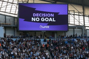 "The big screen displays the ""no goal"" VAR decision."