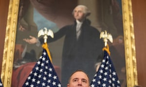 Schiff, here, is seen below a painting of George Washington after the House voted to impeach Donald Trump, on December 18.