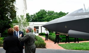 Trump speaks with Alan B Norman, director and chief test pilot of the Lockheed Martin F-35.