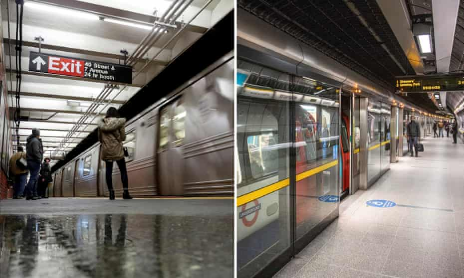 """People wait on the platform as an """"R"""" subway train pulls into a station in Times Square and passengers at Westminster tube station In London"""