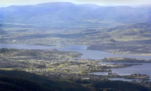 Hobart and the Derwent, as seen from above.