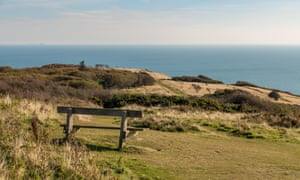 A bench with sea view, seen at Hastings Country Park in East Sussex, UK