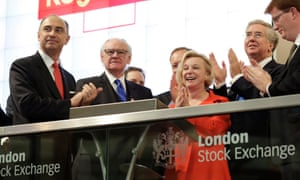 Moya Greene, CEO of the Royal Mail, with managers of the London Stock Exchange and business ministers as the group's shares began trading in 2013.