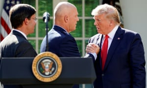 L-r: US defense secretary Mark Esper, Gen John Raymond, commander of SpaceCom, and Donald Trump in Washington last week