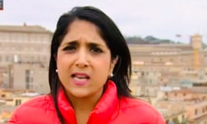 Screengrab of the BBC news reporter Sima Kotecha, who was racially abused on Sunday evening while preparing to broadcast following Boris Johnson's address to the nation.