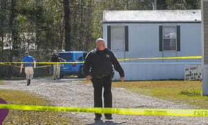 Investigators work the scene of a shooting in Livingston parish in Louisiana. Dakota Theriot was subsequently charged with five killings.