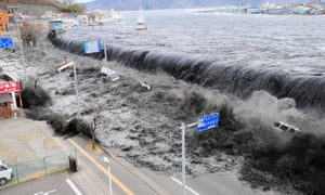 A tsunami floods the city of Miyako, Japan, after an earthquake in March 2011.