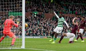 Odsonne Edouard scores Celtic's third goal against Hearts.
