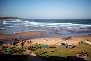 Beachgoers on Scottburgh Beach near Durban