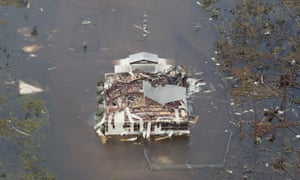 An aerial view of damage caused by Hurricane Dorian is seen on Great Abaco Island, where roads washed out and hospitals swamped by several feet of water