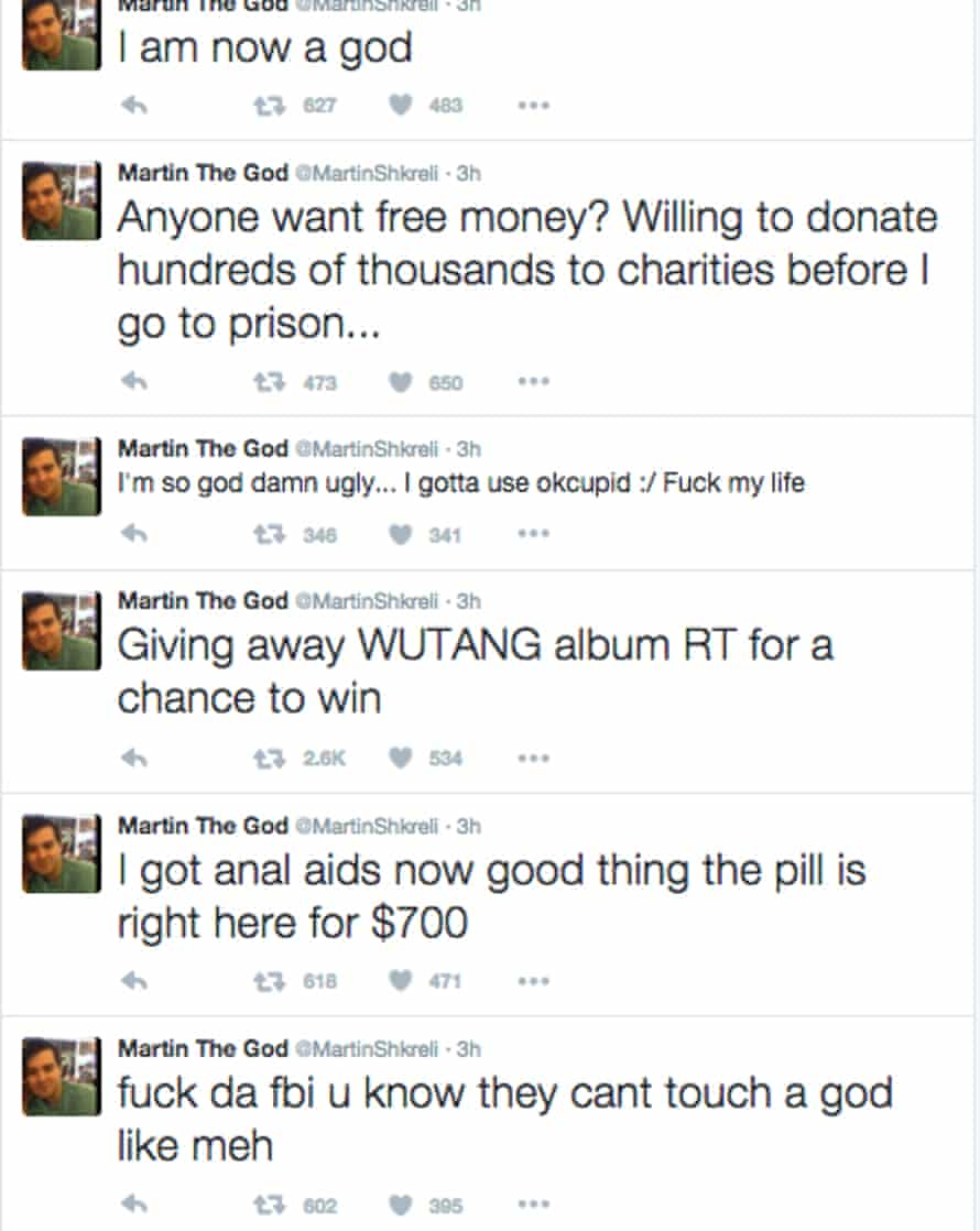 Hackers sent a series of tweets from Shkreli's twitter account on Sunday, including one where they offered to donate his money to a charity.