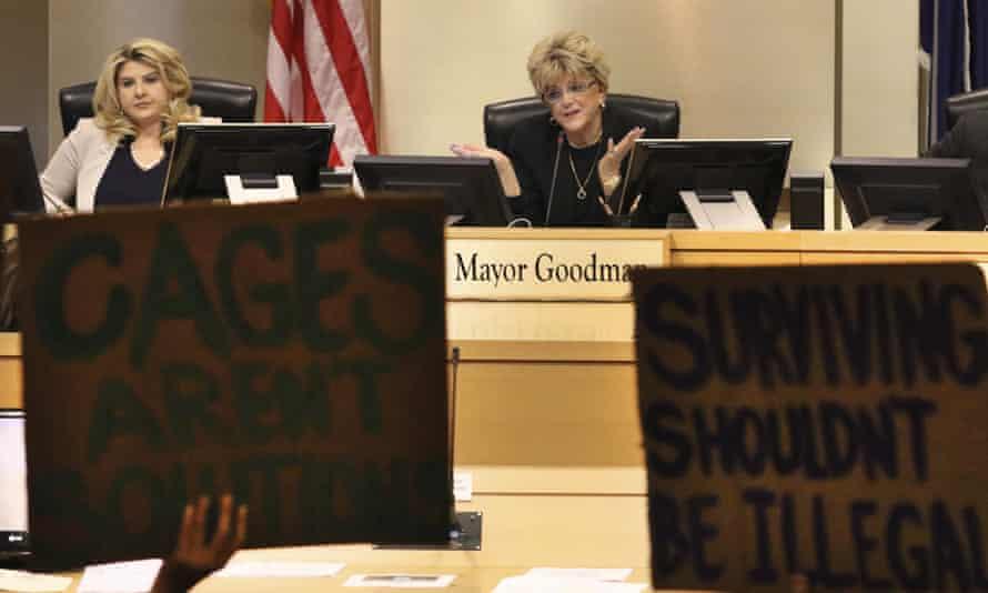 The Las Vegas mayor, Carolyn Goodman, speaks as the city council considers the measure in November.