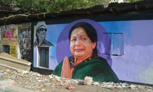 A mural of Jayalalithaa in Tamil Nadu
